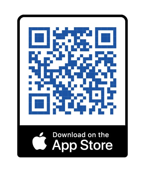 blue qr code with download in the app store